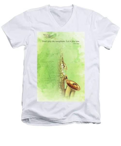 Charlie Parker Saxophone Green Vintage Poster And Quote, Gift For Musicians Men's V-Neck T-Shirt by Pablo Franchi
