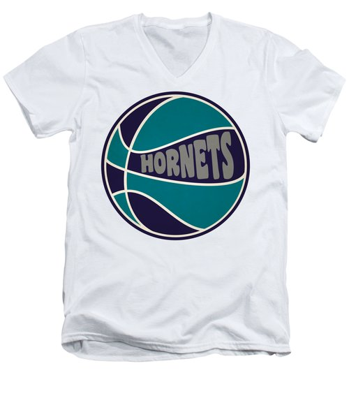 Men's V-Neck T-Shirt featuring the photograph Charlotte Hornets Retro Shirt by Joe Hamilton