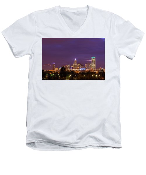 Charlotte, North Carolina Sunrise Men's V-Neck T-Shirt by Serge Skiba