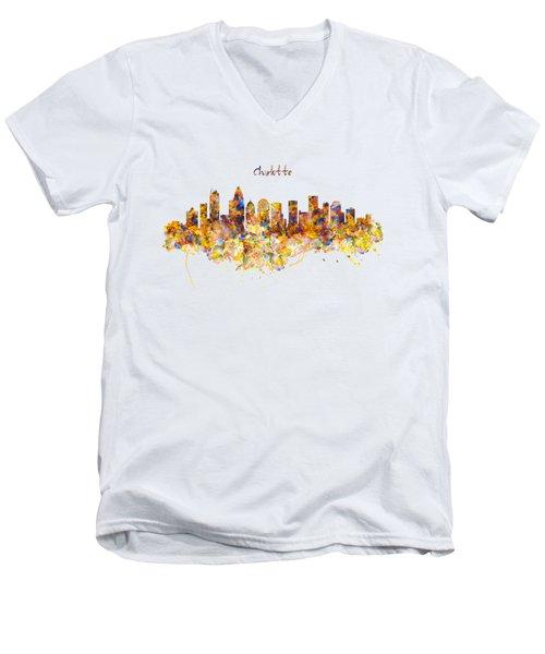 Charlotte Watercolor Skyline Men's V-Neck T-Shirt by Marian Voicu