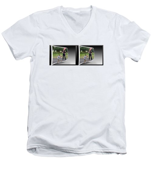 Men's V-Neck T-Shirt featuring the photograph Chasing Bubbles - Gently Cross Your Eyes And Focus On The Middle Image by Brian Wallace