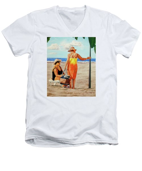 Chat On The Beach - Chat En La Playa Men's V-Neck T-Shirt