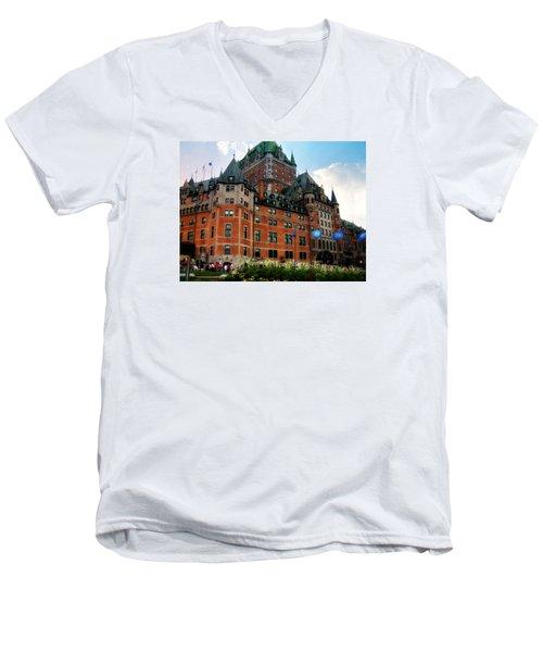 Chateau Frontenac Men's V-Neck T-Shirt by Robin Regan