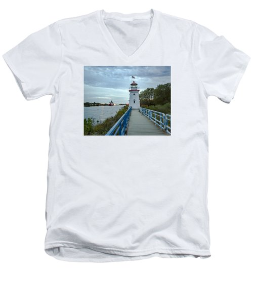 Cheboygan Crib Lighthouse Lake Huron, Lower Peninsula Mi Men's V-Neck T-Shirt