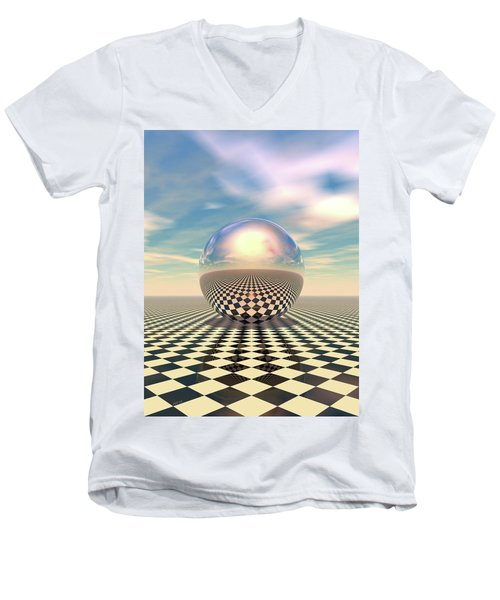 Men's V-Neck T-Shirt featuring the digital art Checker Ball by Phil Perkins