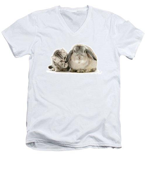 Checking For Grey Hares Men's V-Neck T-Shirt