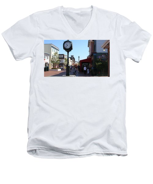 Men's V-Neck T-Shirt featuring the painting Checking Out The Shops In Cape May by Rod Jellison