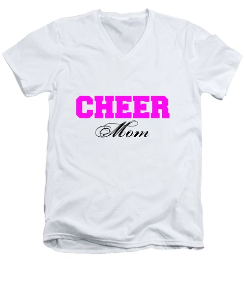 Cheer Mom Typography In Pink And Black Men's V-Neck T-Shirt