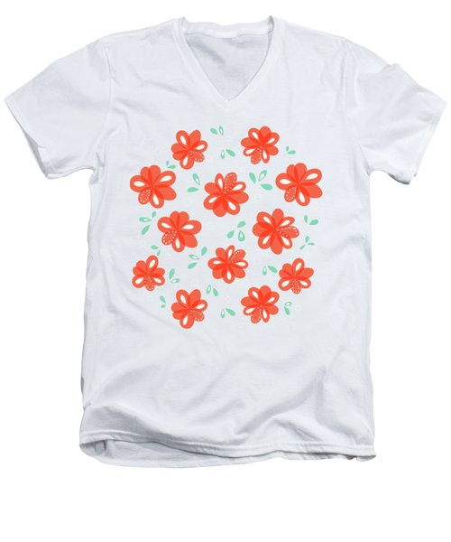 Cheerful Red Flowers Men's V-Neck T-Shirt