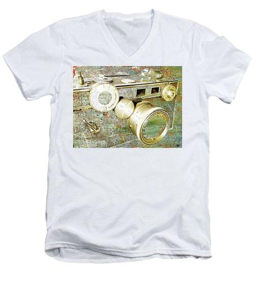 Men's V-Neck T-Shirt featuring the mixed media Cheese by Tony Rubino