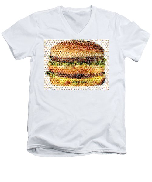 Men's V-Neck T-Shirt featuring the mixed media Cheeseburger Fast Food Mosaic by Paul Van Scott