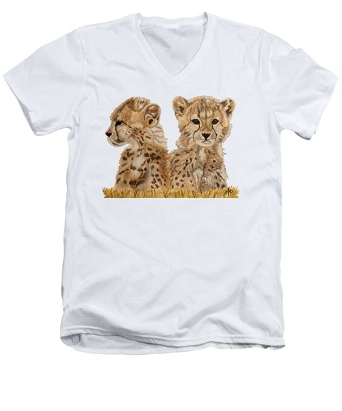 Cheetah Cubs Men's V-Neck T-Shirt by Angeles M Pomata