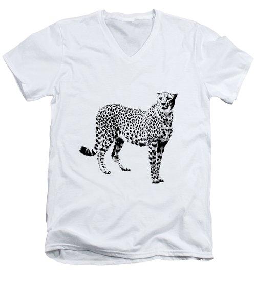 Cheetah Cutout Men's V-Neck T-Shirt by Greg Noblin