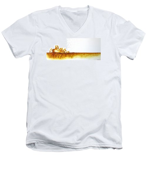 Cheetah Mum And Cubs - Original Artwork Men's V-Neck T-Shirt