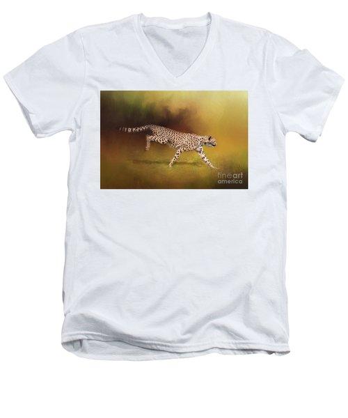 Cheetah Running Men's V-Neck T-Shirt