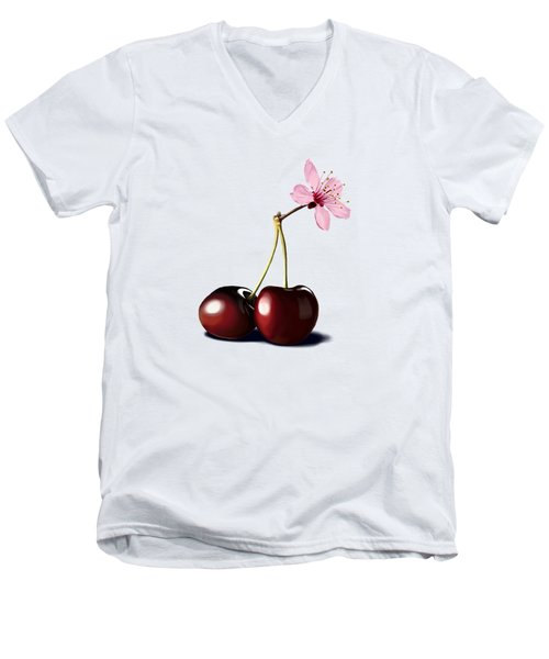 Men's V-Neck T-Shirt featuring the drawing Cherry Blossom by Rob Snow