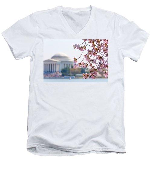 Cherry Blossoms And Jefferson Memorial Men's V-Neck T-Shirt