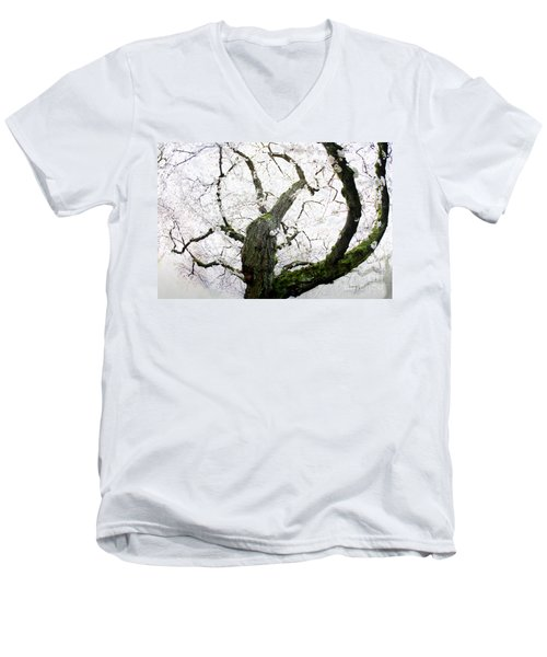 Men's V-Neck T-Shirt featuring the photograph Cherry Blossoms by Peter Simmons