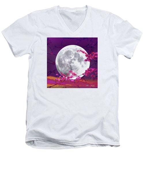Cherry Moon  Men's V-Neck T-Shirt by Robin Moline