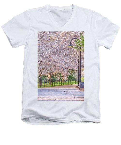 Cherry Morning Path Men's V-Neck T-Shirt