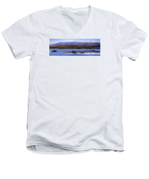 Cherry Pond Reflections Panorama Men's V-Neck T-Shirt
