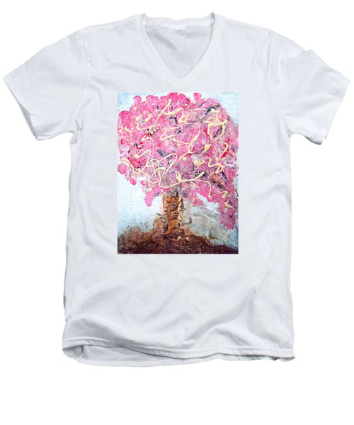 Cherry Tree By Colleen Ranney Men's V-Neck T-Shirt