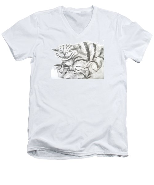 Men's V-Neck T-Shirt featuring the drawing Chershire Cat  by Meagan  Visser