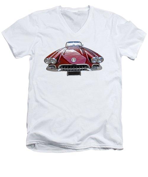 Chevrolet Corvette C1 1958 Head On Men's V-Neck T-Shirt by Gill Billington