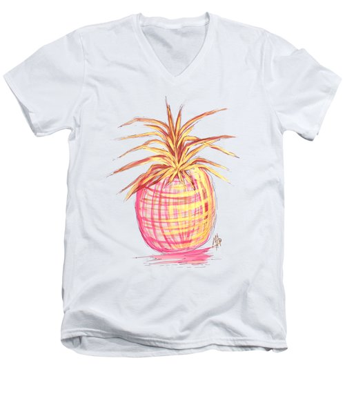 Chic Pink Metallic Gold Pineapple Fruit Wall Art Aroon Melane 2015 Collection By Madart Men's V-Neck T-Shirt