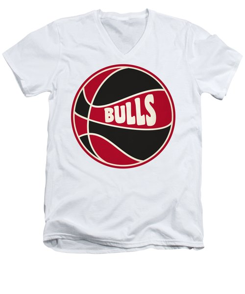 Men's V-Neck T-Shirt featuring the photograph Chicago Bulls Retro Shirt by Joe Hamilton