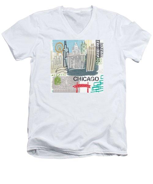 Chicago Cityscape- Art By Linda Woods Men's V-Neck T-Shirt