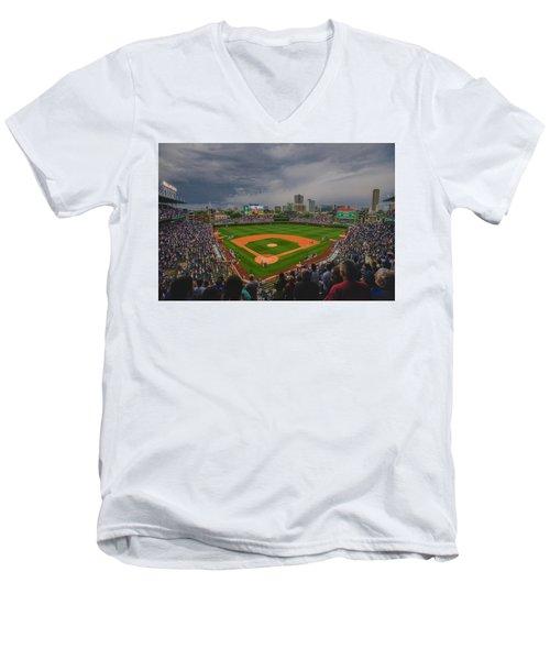 Chicago Cubs Wrigley Field 4 8213 Men's V-Neck T-Shirt by David Haskett