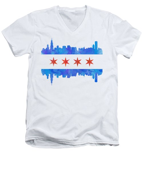 Chicago Flag Watercolor Men's V-Neck T-Shirt