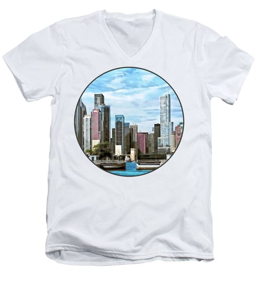 Chicago Il - Chicago Harbor Lock Men's V-Neck T-Shirt by Susan Savad