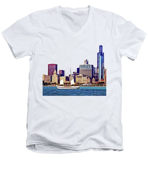Chicago Il - Schooner Against Chicago Skyline Men's V-Neck T-Shirt