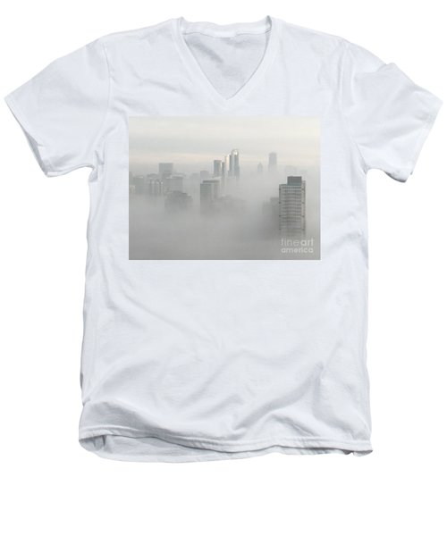 Men's V-Neck T-Shirt featuring the photograph Chicago In The Clouds by Kate Purdy