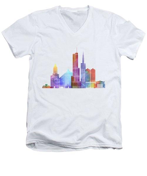 Chicago Landmarks Watercolor Poster Men's V-Neck T-Shirt by Pablo Romero