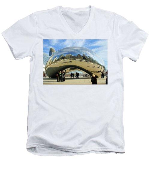 Chicago Reflected Men's V-Neck T-Shirt by Kristin Elmquist