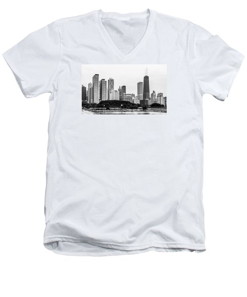 Chicago Skyline Architecture Men's V-Neck T-Shirt by Julie Palencia
