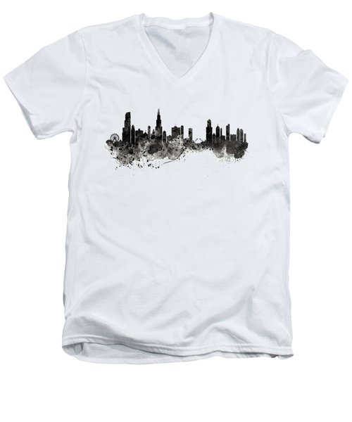 Chicago Skyline Black And White Men's V-Neck T-Shirt by Marian Voicu