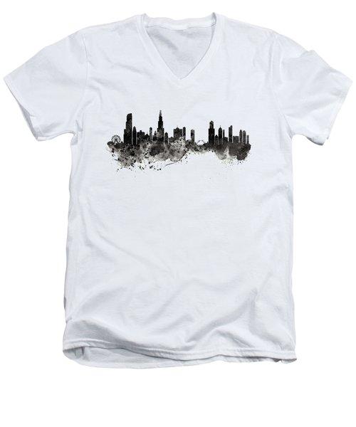 Chicago Skyline Black And White Men's V-Neck T-Shirt