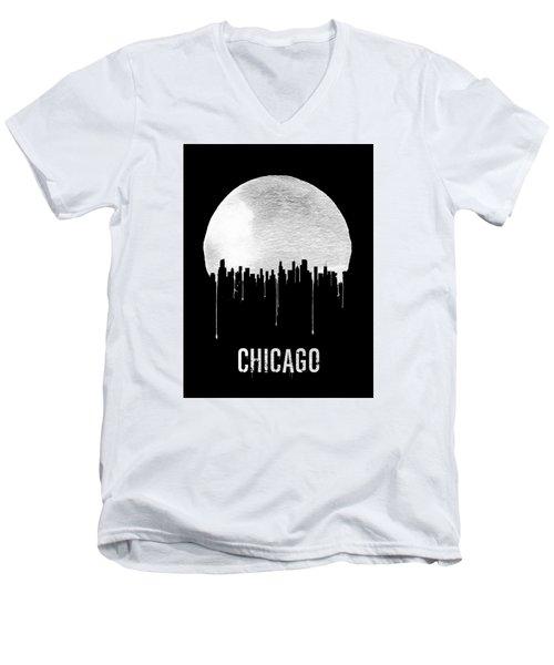 Chicago Skyline Black Men's V-Neck T-Shirt by Naxart Studio