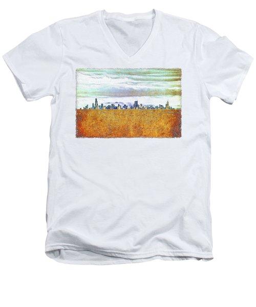 Chicago Skyline Men's V-Neck T-Shirt by Di Designs
