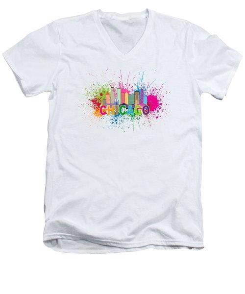 Chicago Skyline Paint Splatter Text Illustration Men's V-Neck T-Shirt