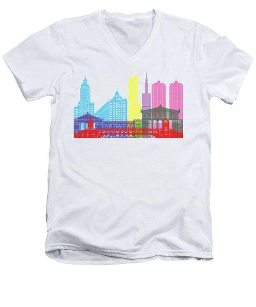 Chicago Skyline Pop Men's V-Neck T-Shirt by Pablo Romero