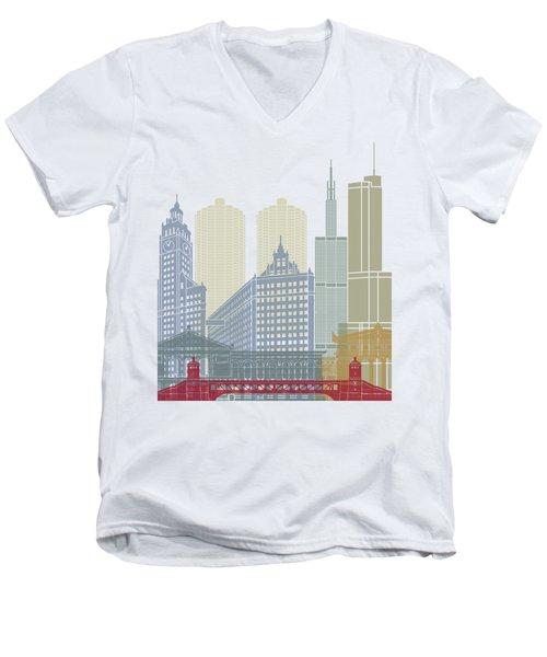 Chicago Skyline Poster Men's V-Neck T-Shirt by Pablo Romero
