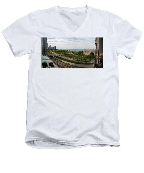 Chicago Skyline Showing Monroe Harbor Men's V-Neck T-Shirt by Michael Bessler