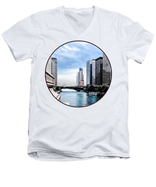 Chicago - View From Michigan Avenue Bridge Men's V-Neck T-Shirt