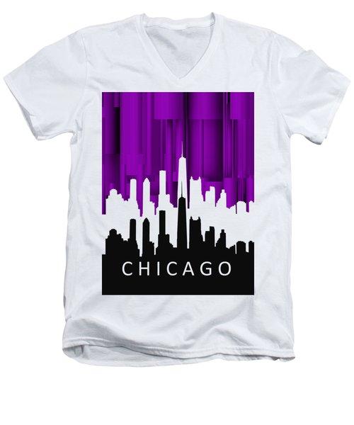 Chicago Violet In Negative Men's V-Neck T-Shirt