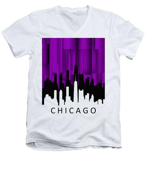Chicago Violet Vertical  Men's V-Neck T-Shirt by Alberto RuiZ
